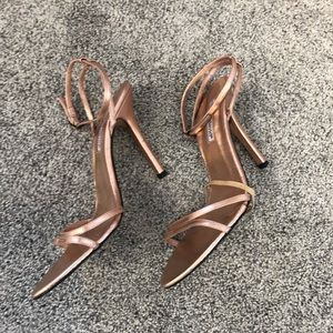 Charles David Rose Gold Leather Strappy Sandals